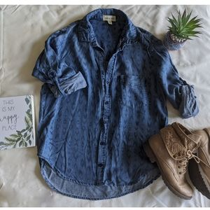 Anthropologie Cloth & Stone printed chambray top